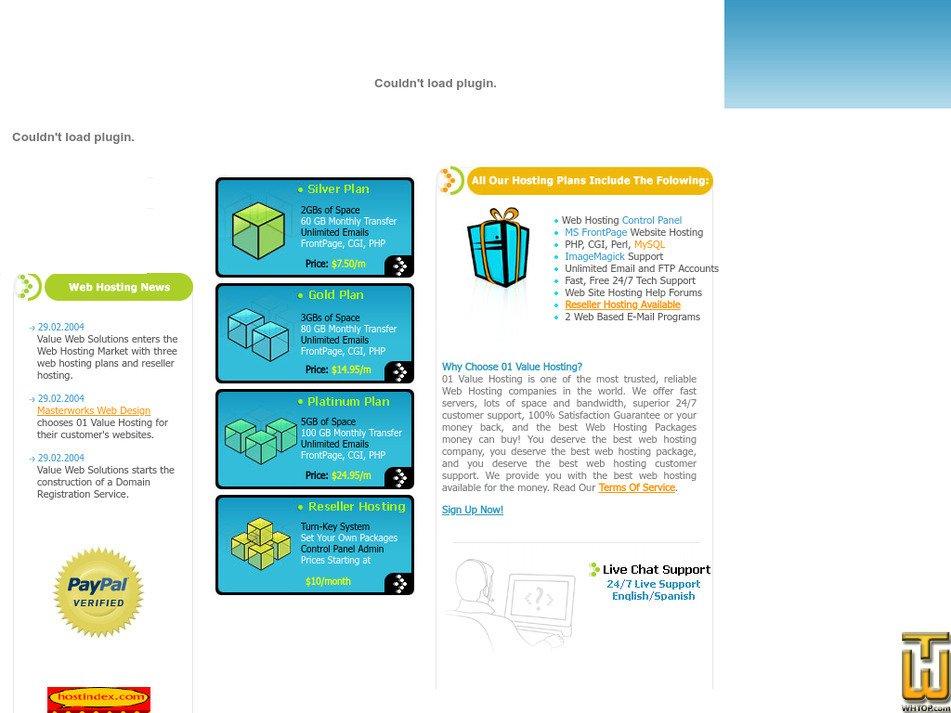 01valuehosting.com Screenshot