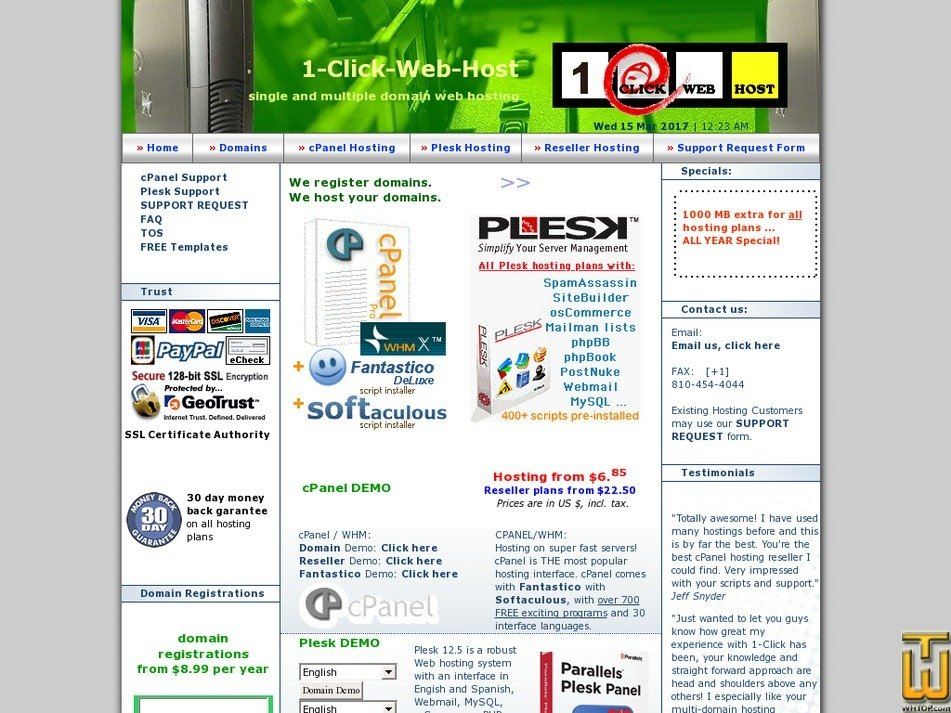 1-click-web-host.com Screenshot