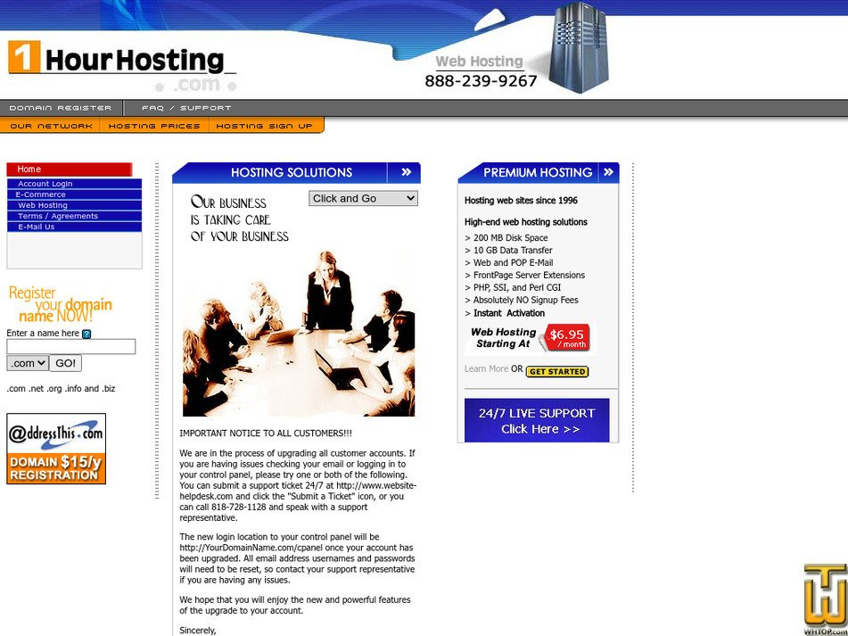 1hourhosting.com Screenshot
