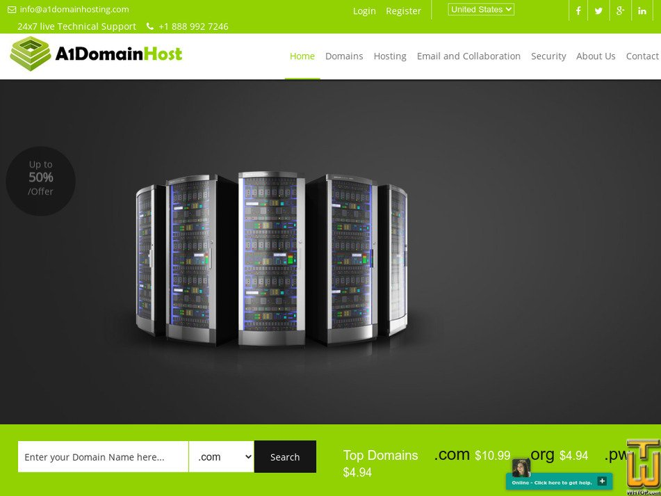 a1domainhosting.com Screenshot