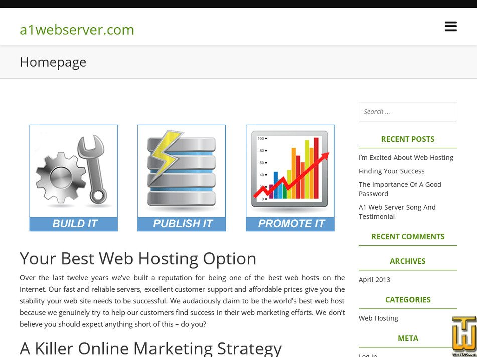 a1webserver.com Screenshot