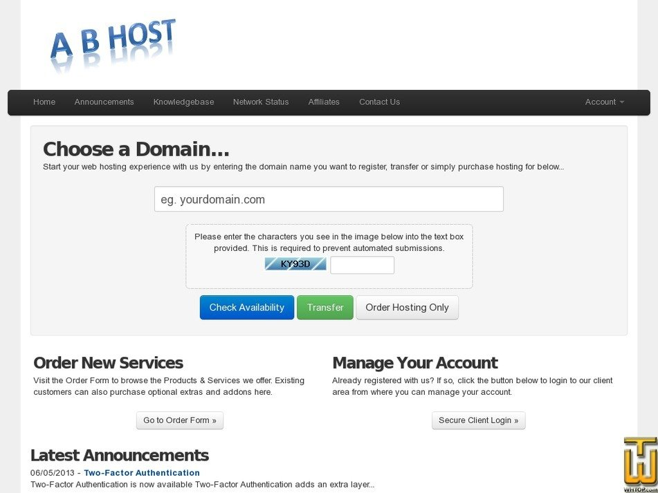 abhost.net Screenshot