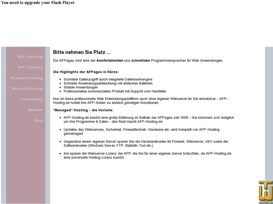 afp-hosting.de Screenshot