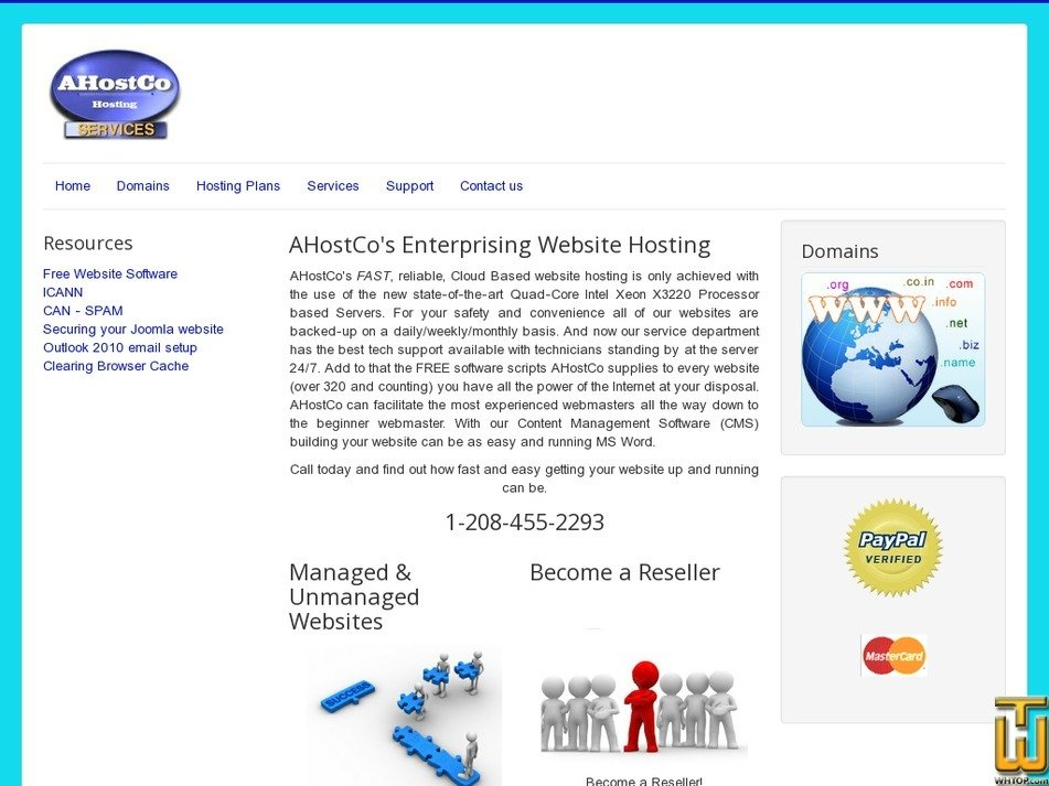 ahostco.com Screenshot