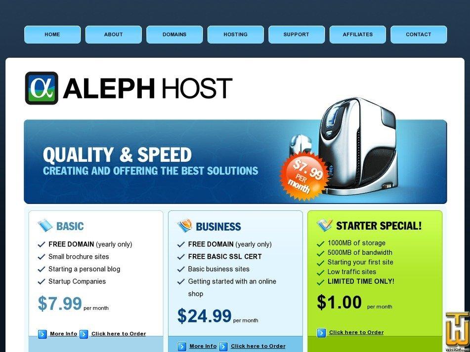 alephhost.com Screenshot
