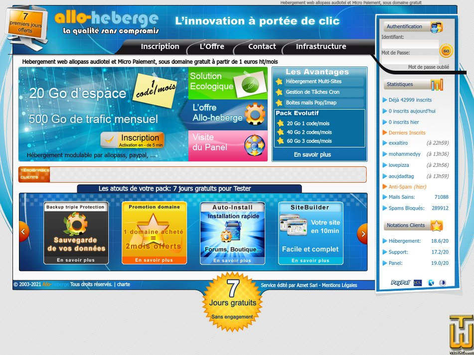 allo-heberge.com Screenshot