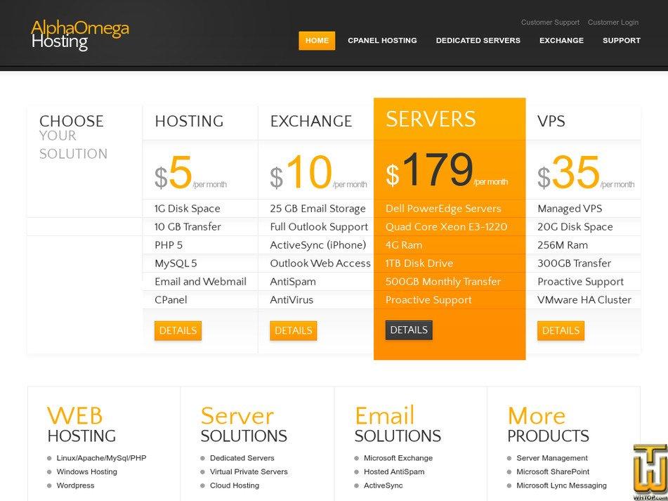alphaomegahosting.com Screenshot
