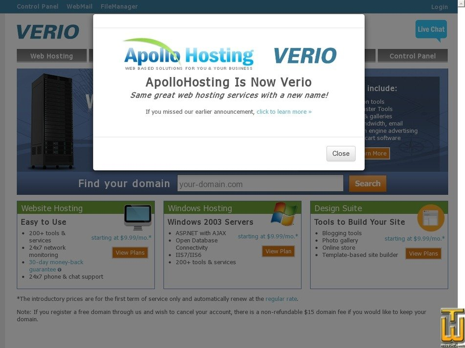 apollohosting.com Screenshot