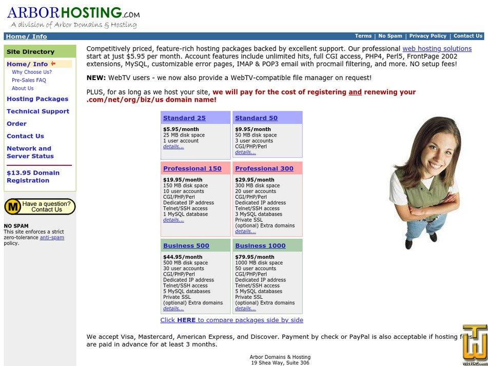 arborhosting.com Screenshot