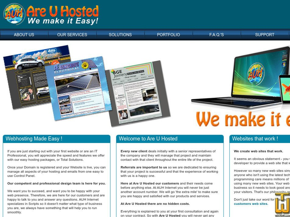 areuhosted.com Screenshot