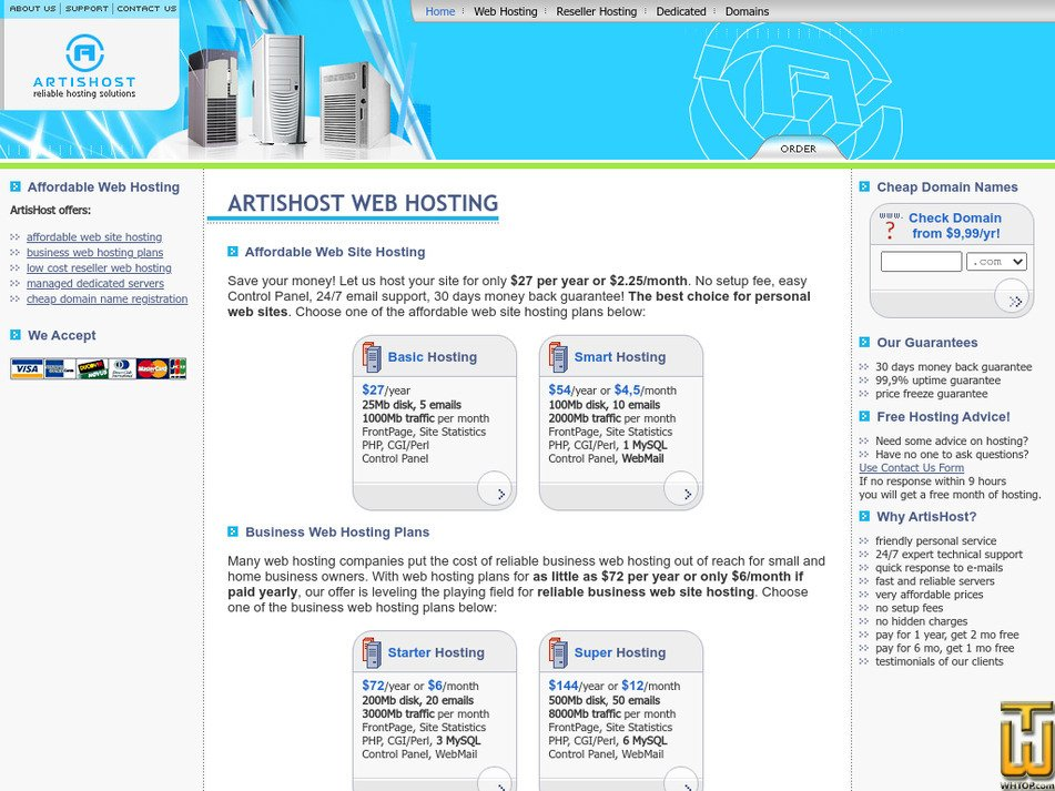 artishost.com Screenshot