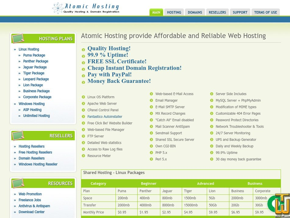 atomic-hosting.net Screenshot