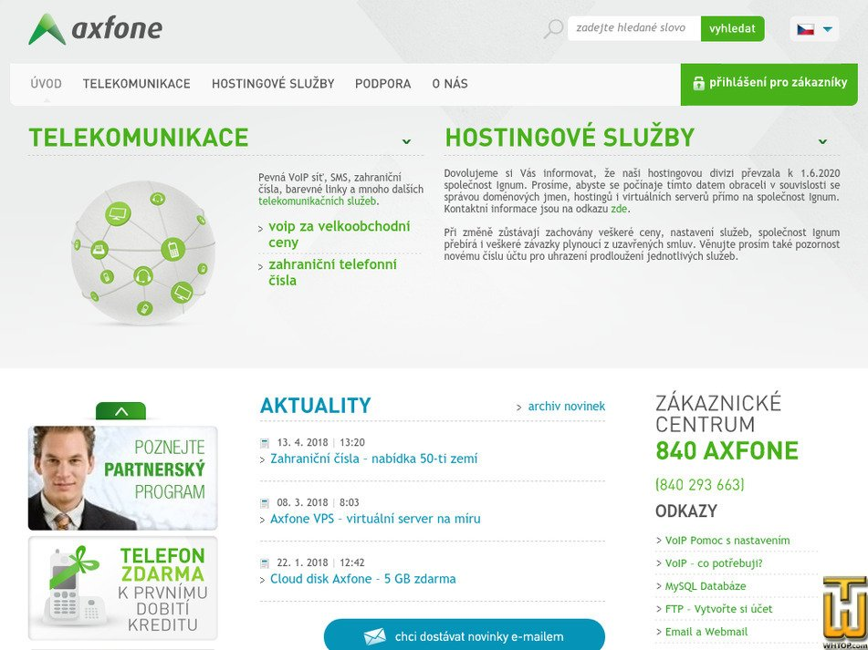 axfone.cz Screenshot