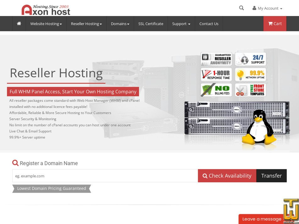 axonhost.com Screenshot