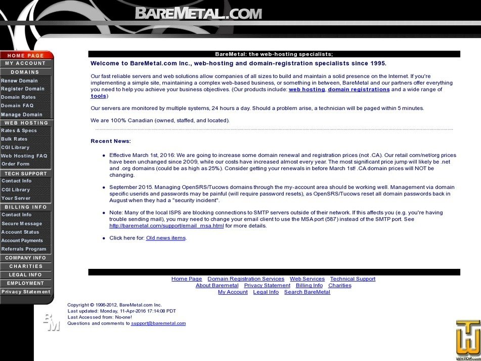 baremetal.ca Screenshot