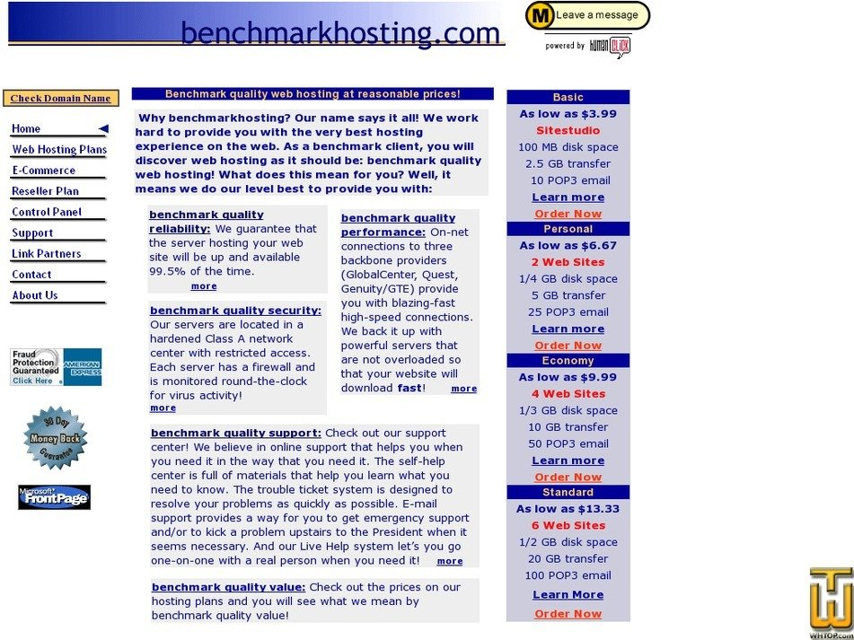 benchmarkhosting.com Screenshot