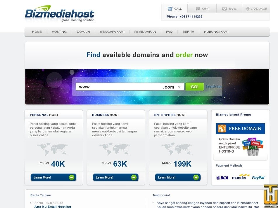 bizmediahost.com Screenshot
