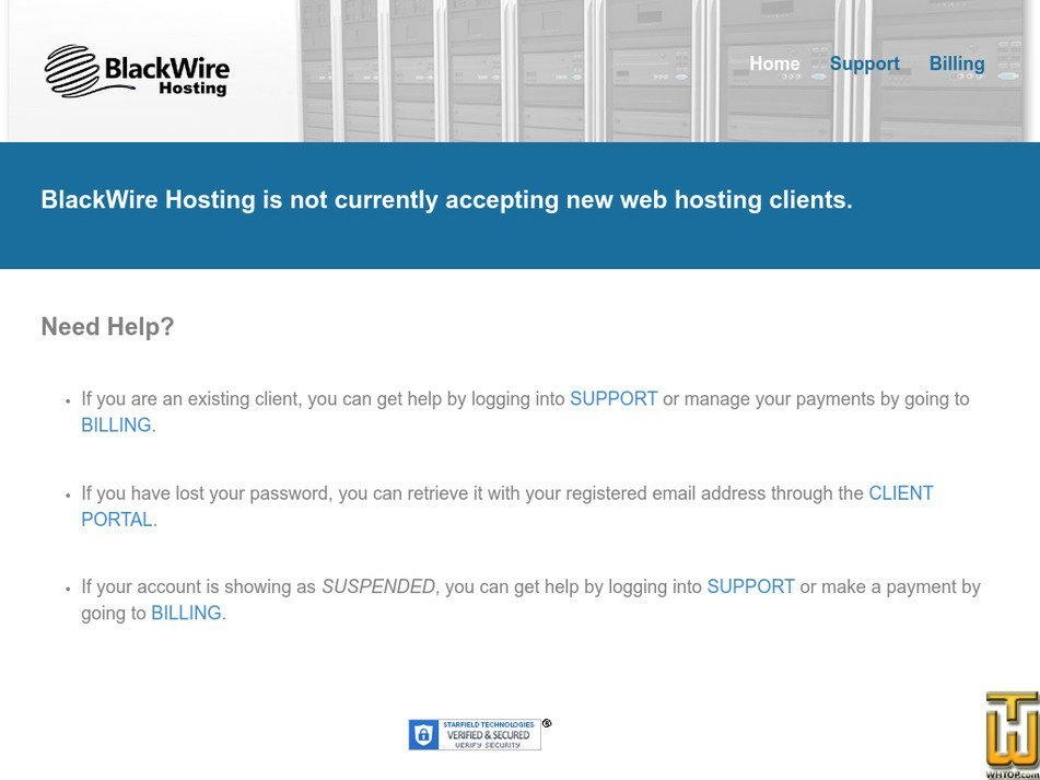 blackwirehosting.com Screenshot