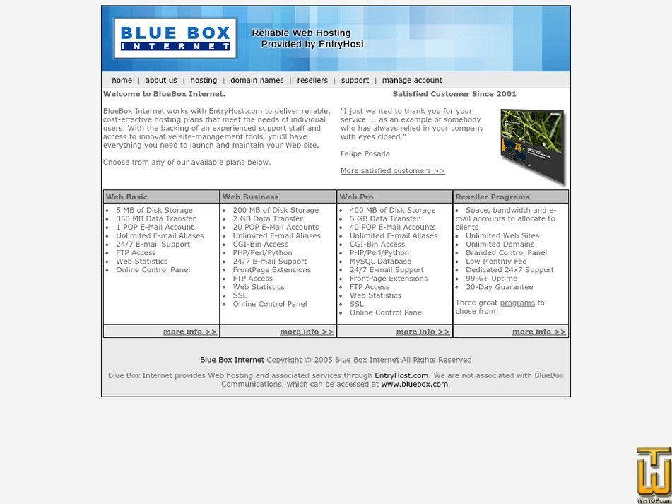 blueboxinternet.com Screenshot