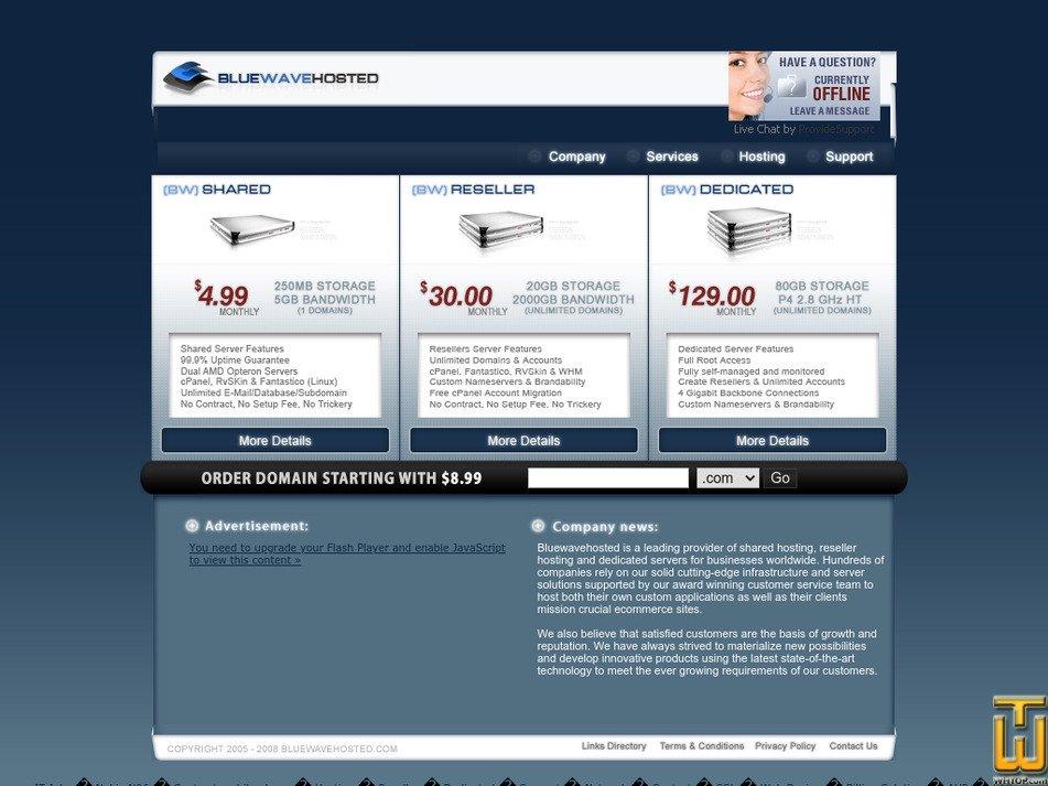 bluewavehosted.com Screenshot