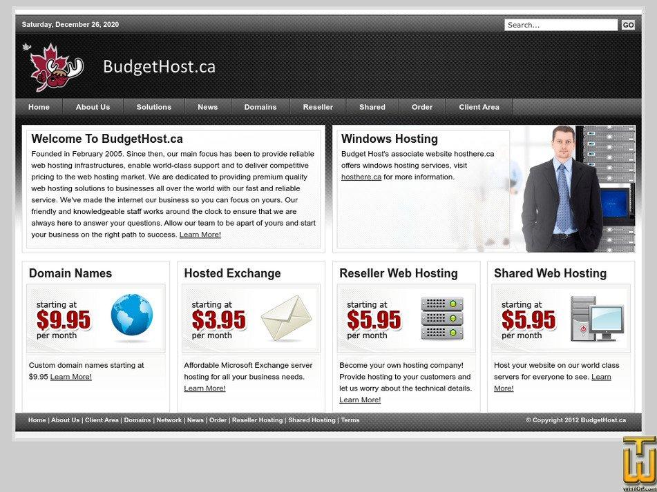 budgethost.ca Screenshot