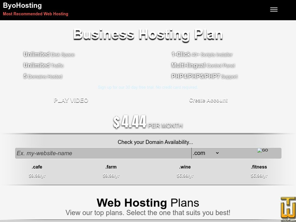 byohosting.com Screenshot