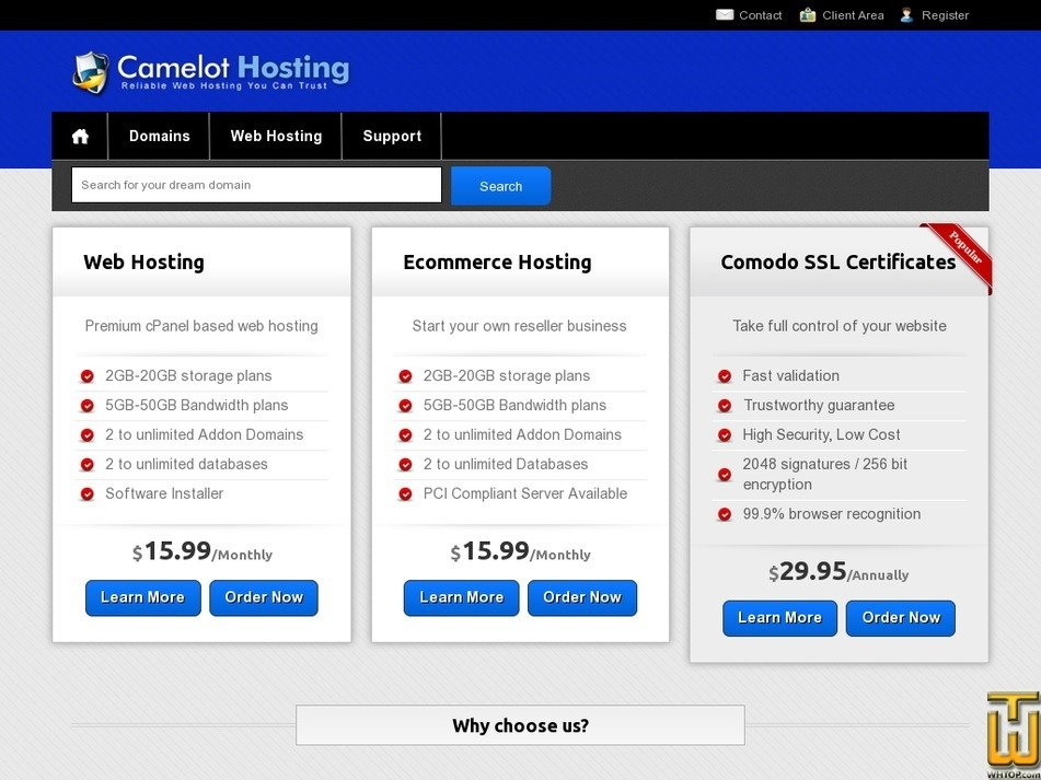 camelot-hosting.com Screenshot