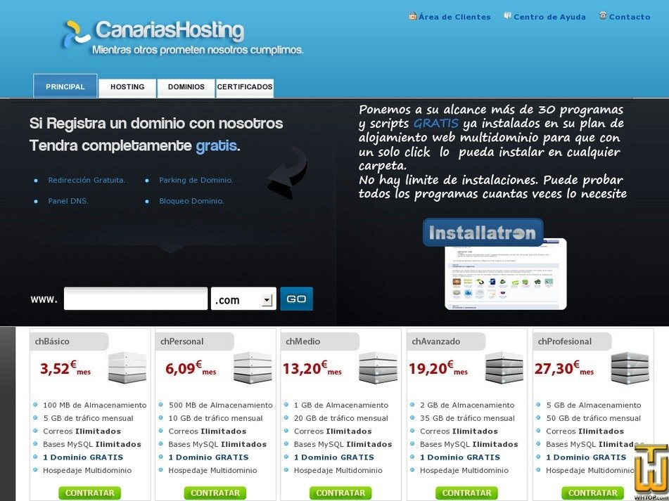 canariashosting.es Screenshot