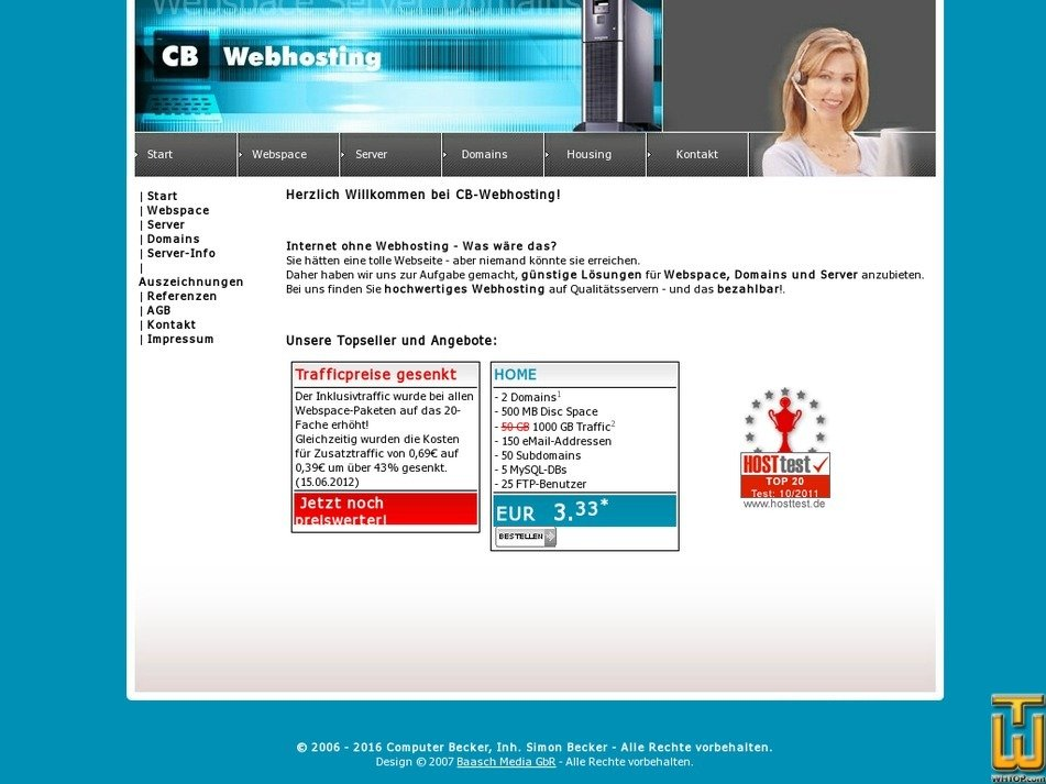 cb-webhosting.de Screenshot