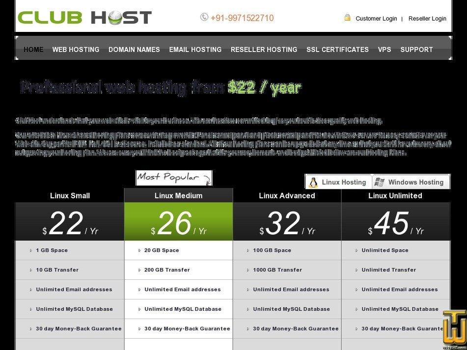 clubhost.in Screenshot