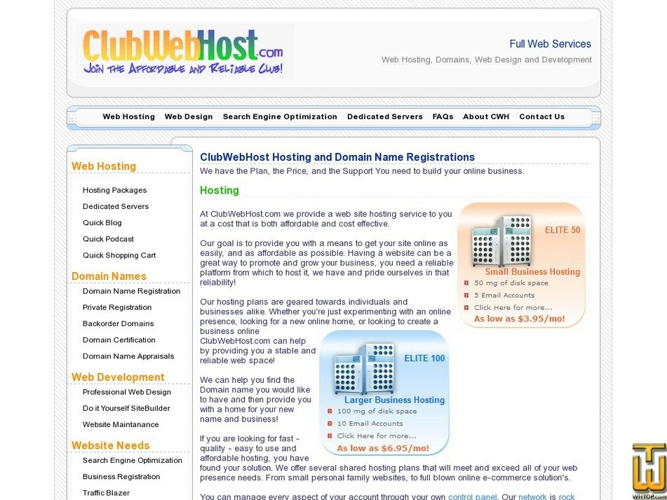 clubwebhost.com Screenshot