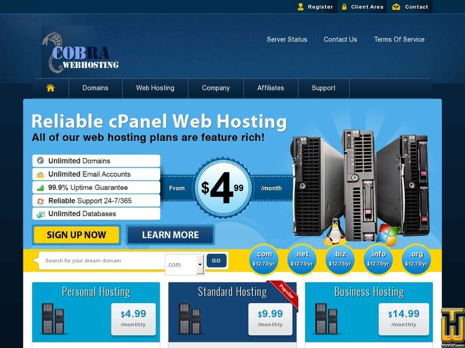 cobrawebhosting.com Screenshot