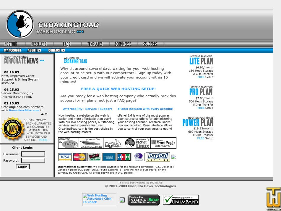 croakingtoad.com Screenshot