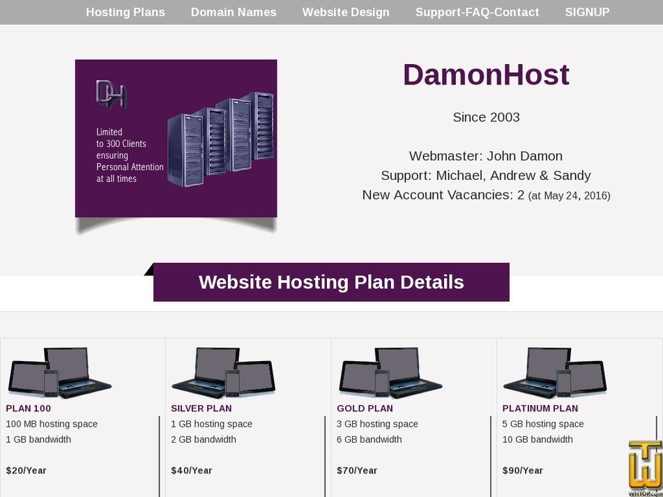 damonhost.com Screenshot