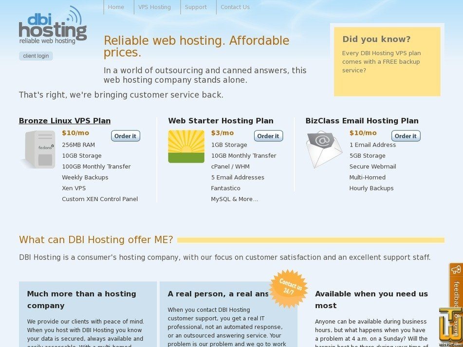 dbihosting.com Screenshot