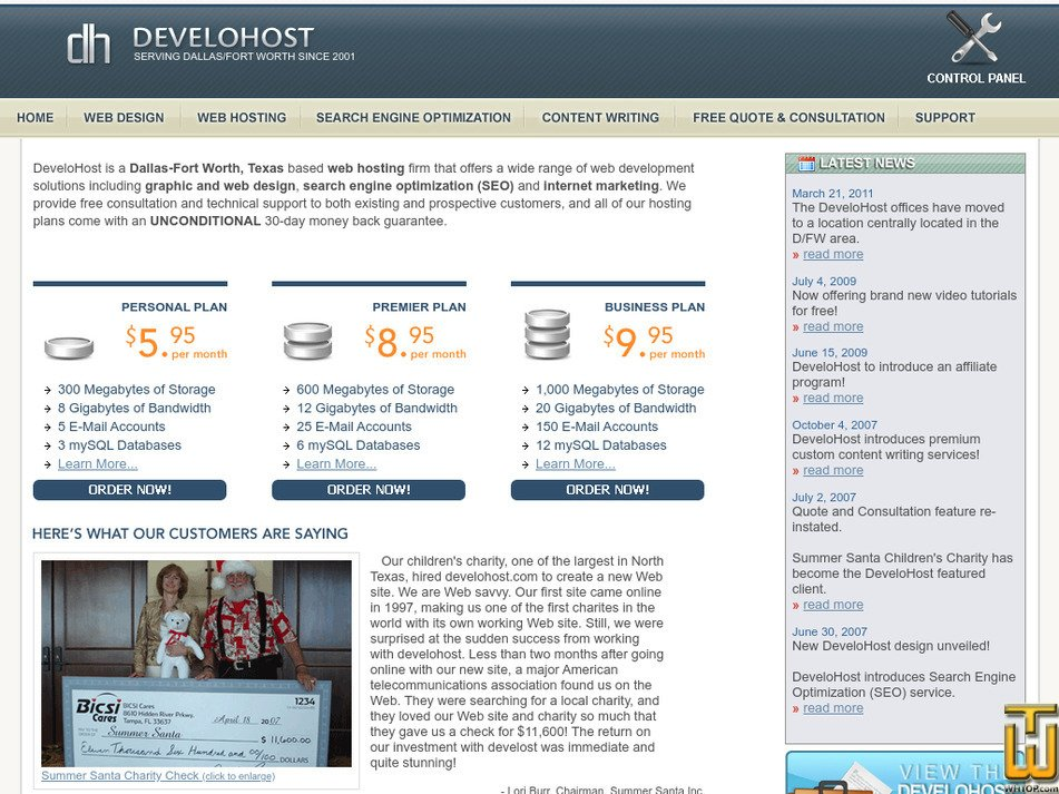 develohost.com Screenshot