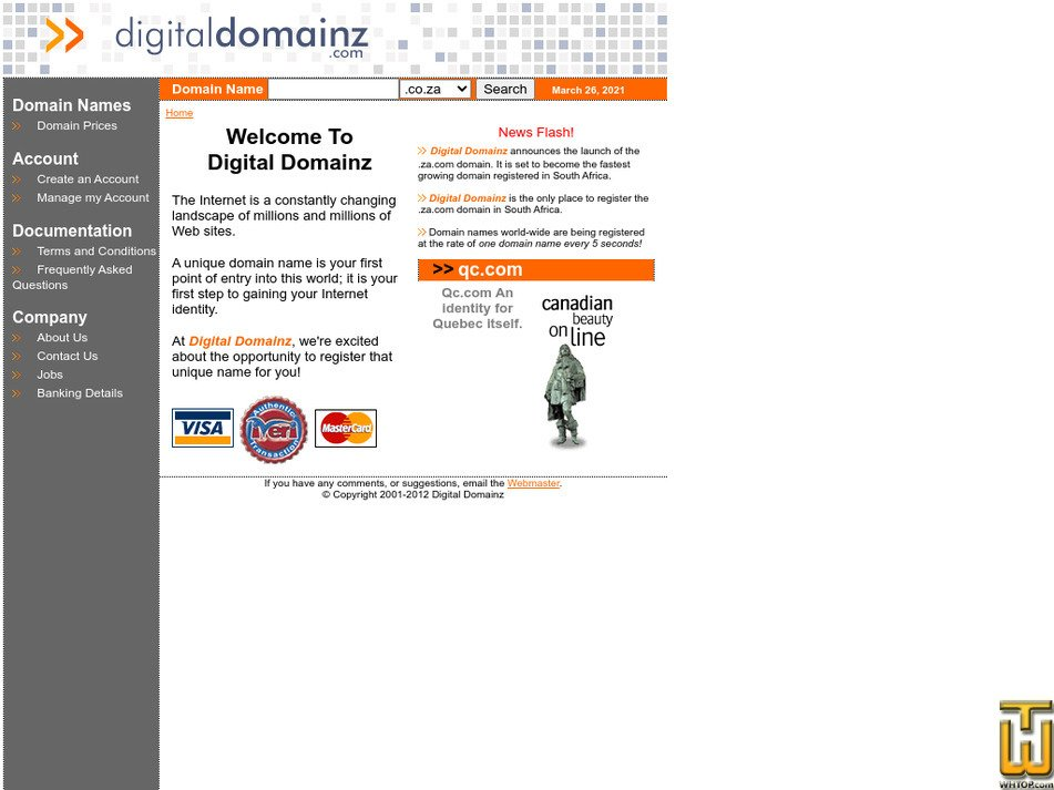 digitaldomainz.com Screenshot