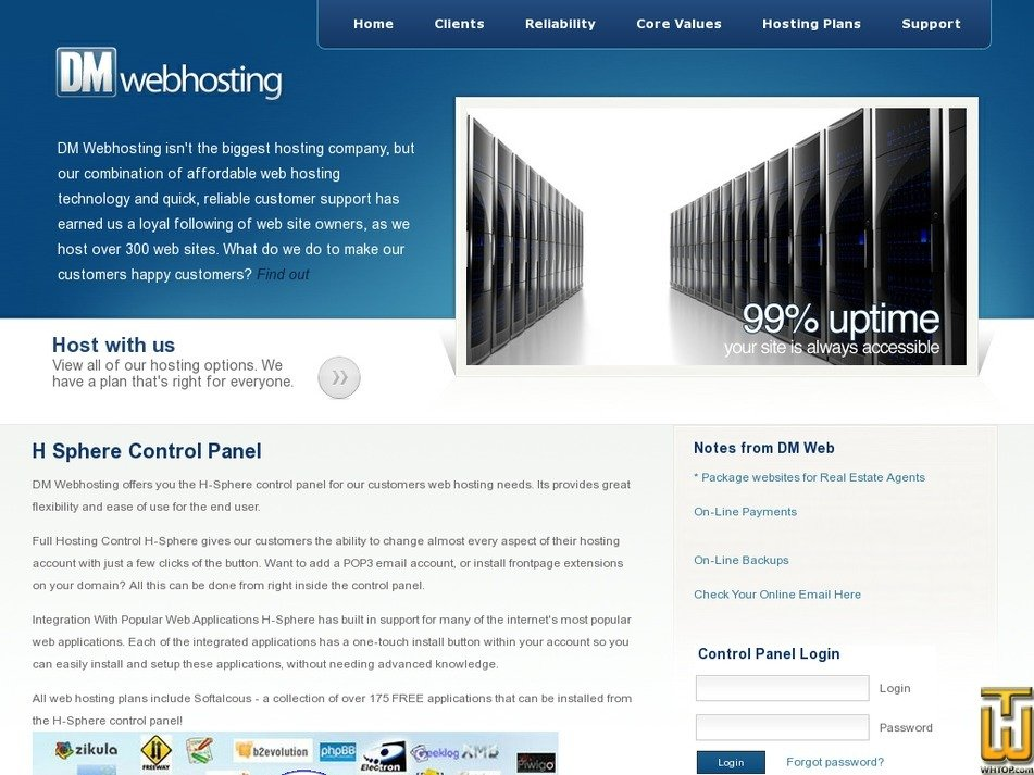 dmwebhosting.com Screenshot