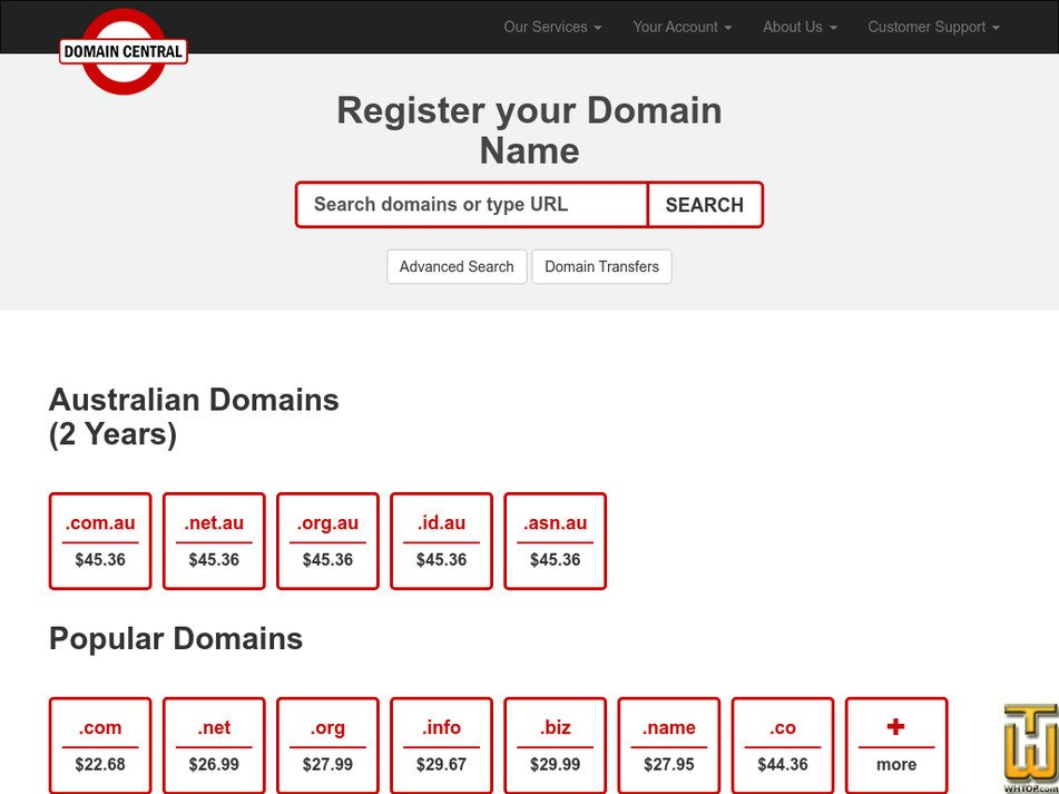 domaincentral.com.au Screenshot