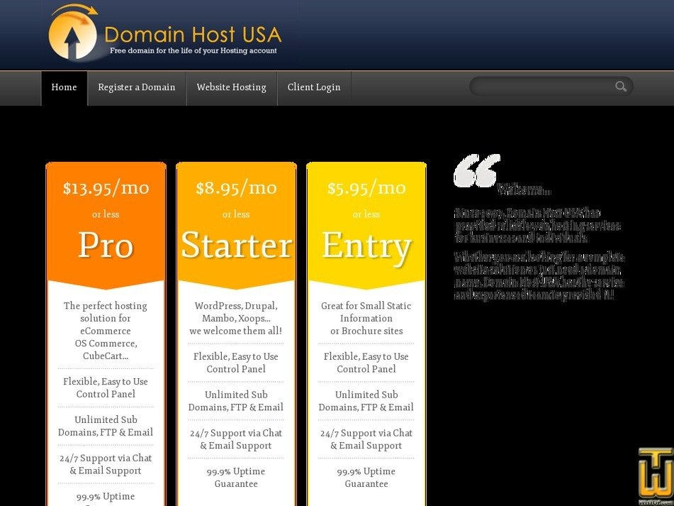 domainhostusa.com Screenshot