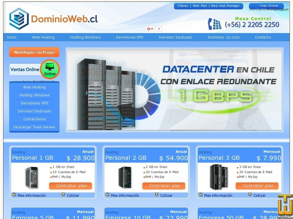 dominioweb.cl Screenshot