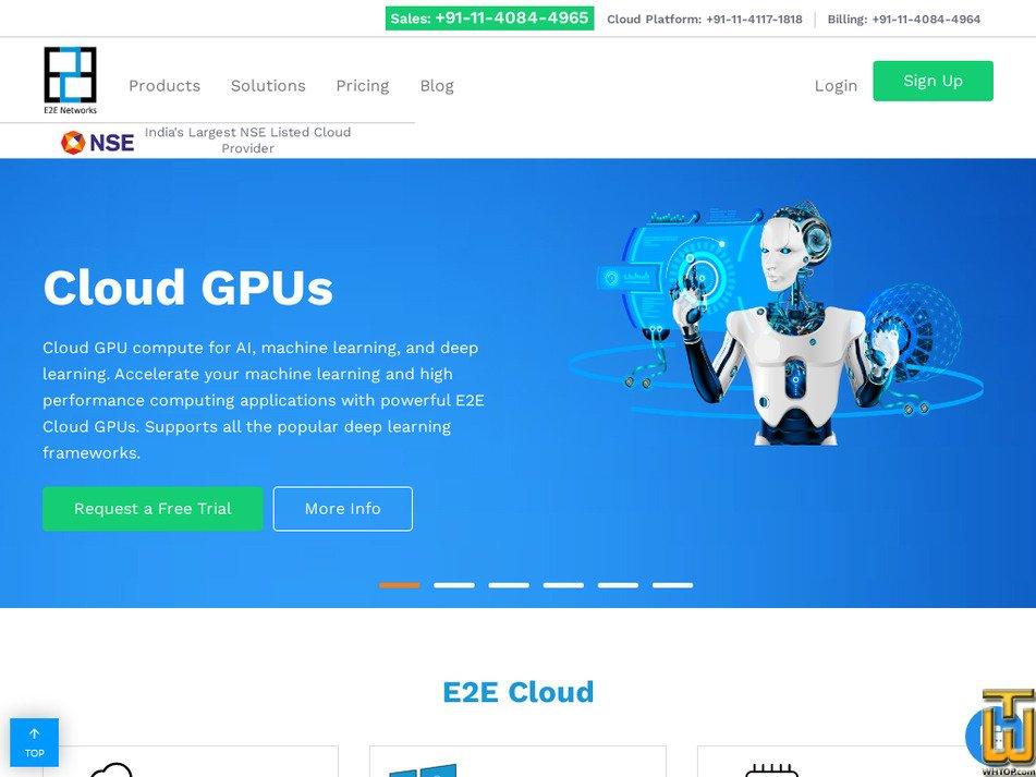 e2enetworks.com Screenshot