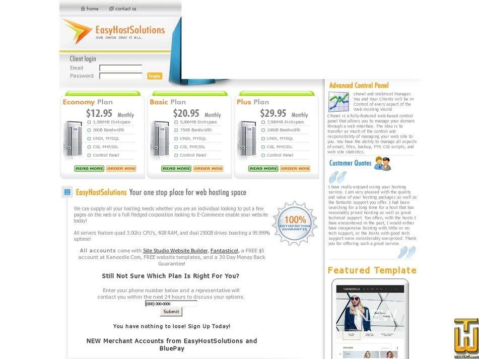 easyhostsolutions.com Screenshot
