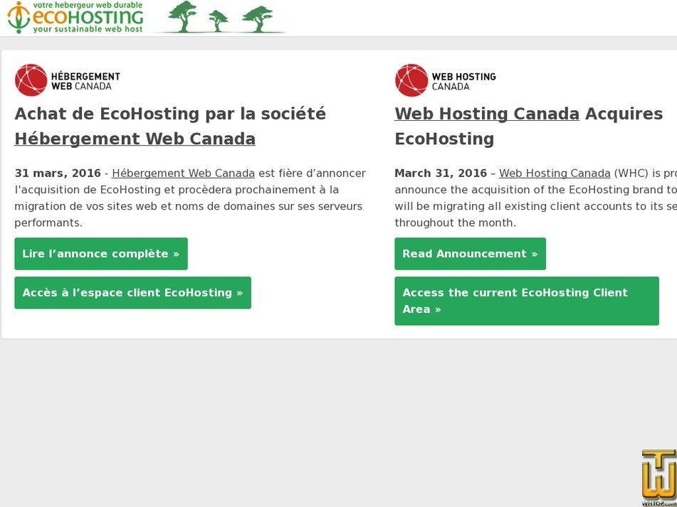 ecohosting.com Screenshot
