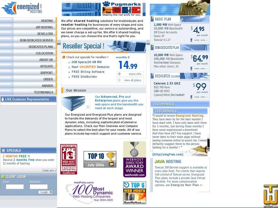 energizedhosting.com Screenshot