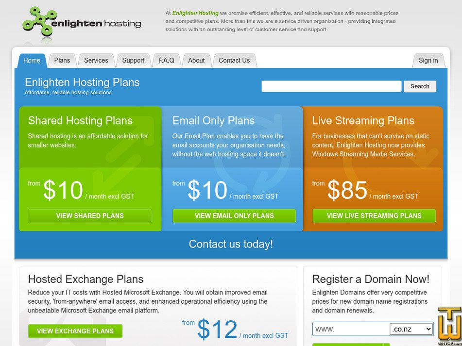 enlightenhosting.com Screenshot