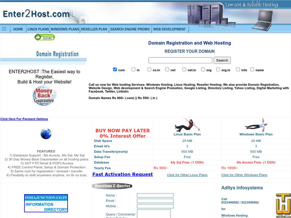 enter2host.com Screenshot