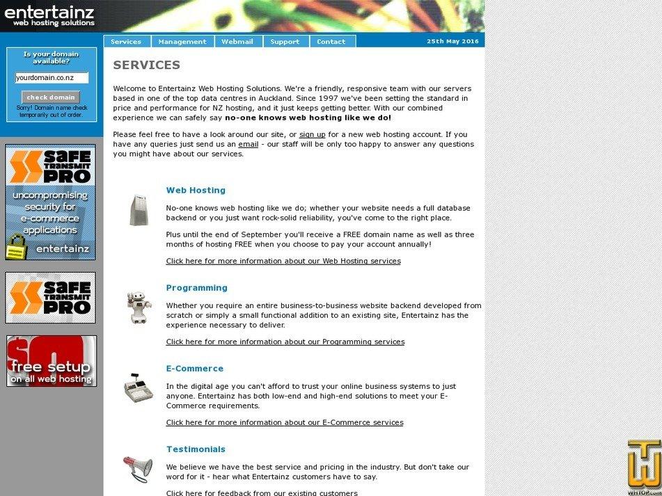 entertainz.co.nz Screenshot