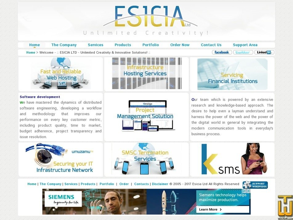 esicia.com Screenshot