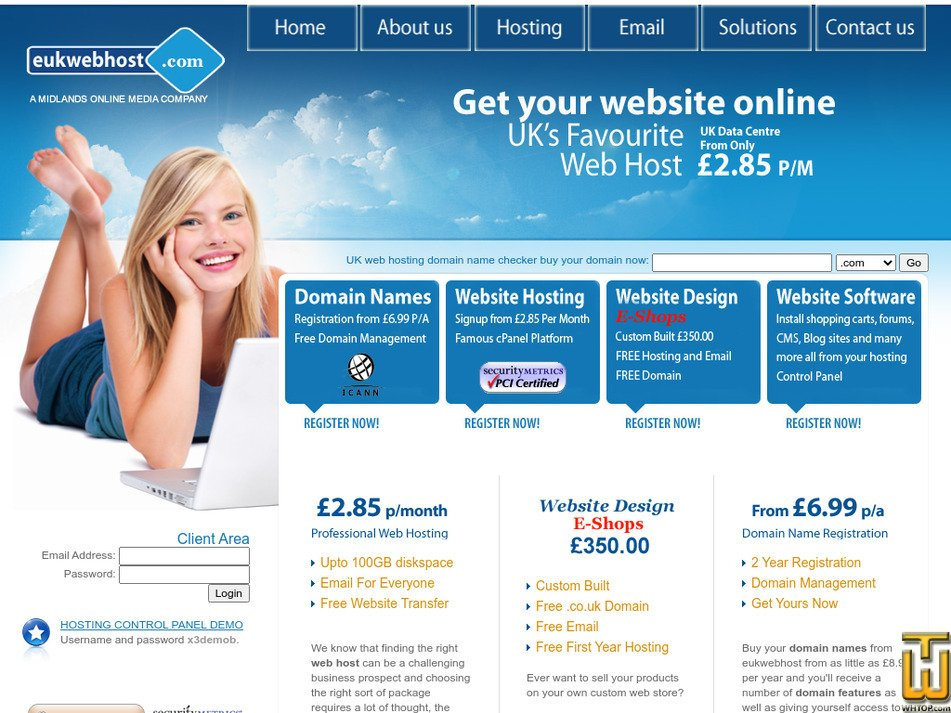 eukwebhost.com Screenshot